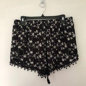 Summer Black Flowy Shorts